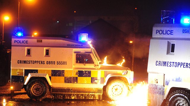 PSNI landrover petrol bombed
