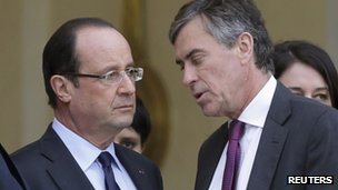Francois Hollande in conversation with Jerome Cahuzac earlier this week