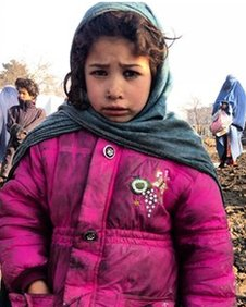 Displaced girl from Helmand in Qambar‏ camp
