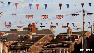 Union flags and bunting in a street in south Belfast