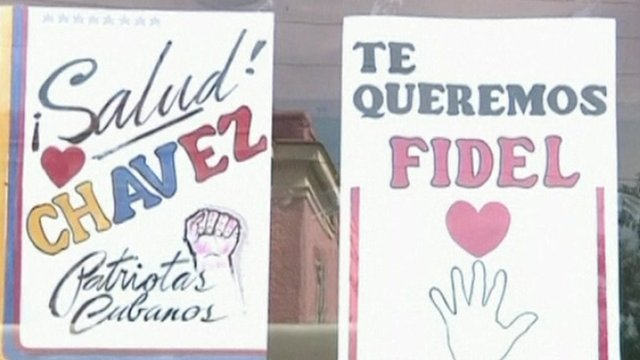 Posters saying &#039;Salud Chavez&#039; and &#039;Te Queremos Fidel&#039;