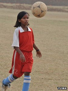 Shivani,13, who plays in the India Under-13 national team practicing