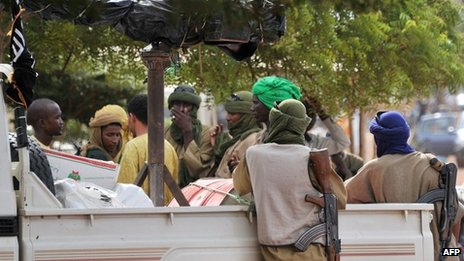 A photo taken on 21 September 2012 shows a group of armed Islamists gathered in the Malian city of Gao
