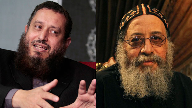 Emad Abdel-Ghafour (L) and Coptic Pope Tawadros ll (Reuters and AFP)