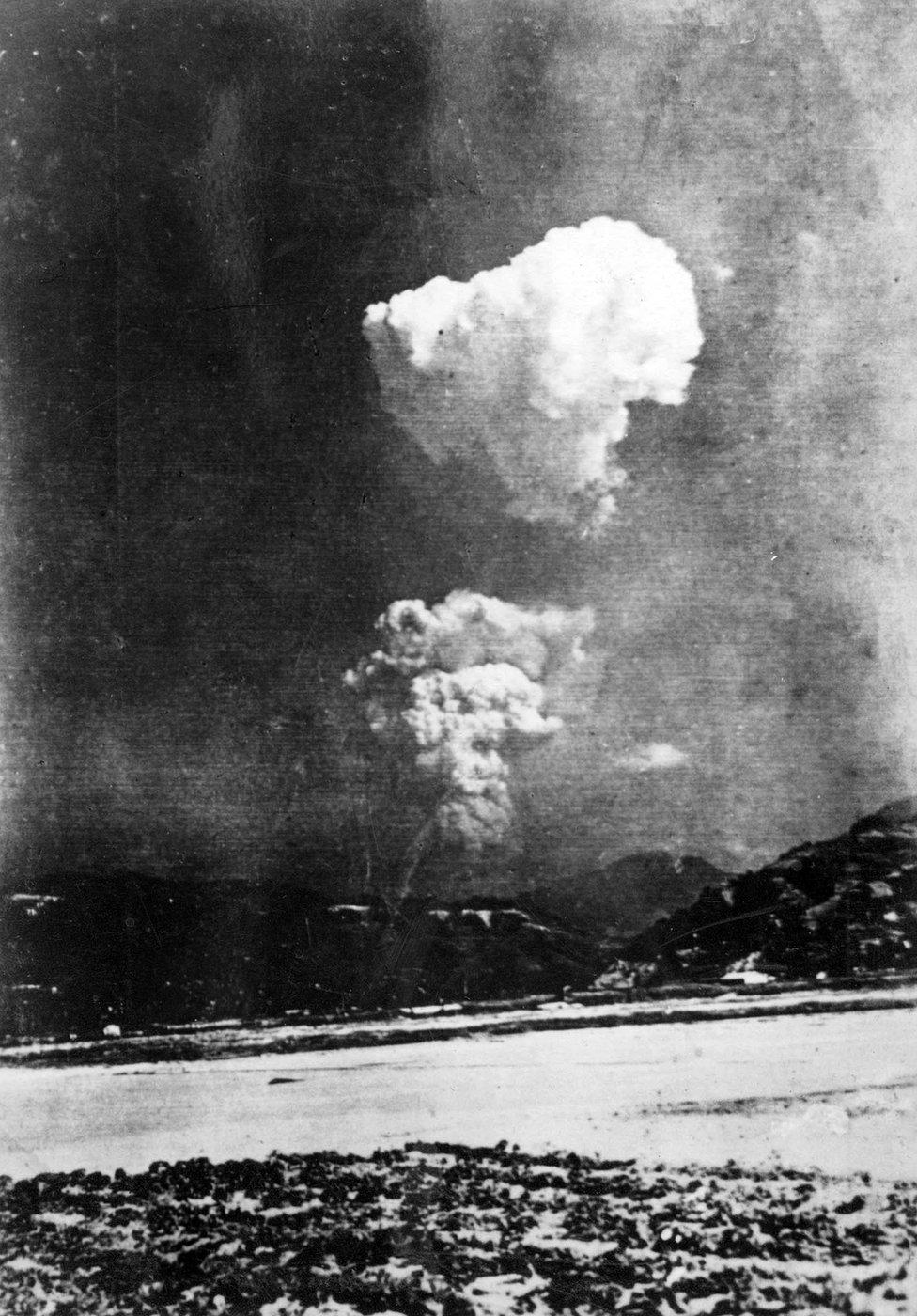 An atomic explosion over Hiroshima, 1945