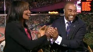Colin Jackson celebrates with Denise Lewis
