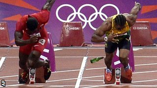 A bottle lands on the 100m track