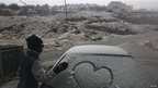 Car windscreen covered with snow in Druze village of Majdal Shams on Golan Heights. 8 January 2013