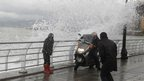 Wave crashing into Beirut's Corniche, a seaside promenade, Lebanon. 8 Jan 2013