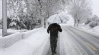 Snow covered main road linking Beirut to Damascus after heavy snowstorm in Sawfar village, eastern Lebanon. 8 Jan 2013