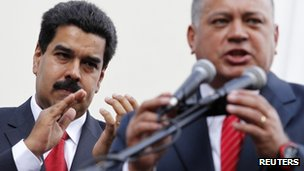 Nicolas Maduro (left) and Diosdado Cabello (right)