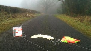 What goes up must come down. The BBC Sky Balloon team tracked it to the Killynick Road