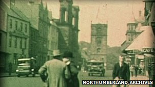 Morpeth's high street in the 1920's or 30's