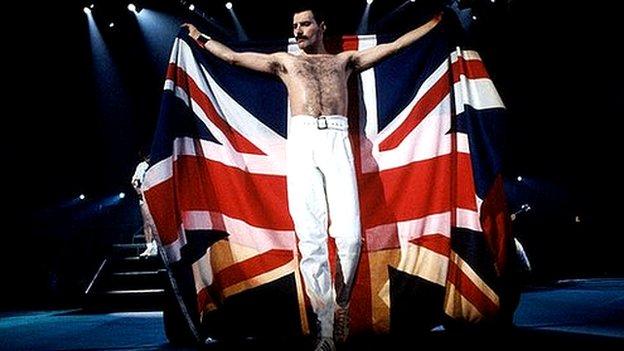Freddie Mercury with Union flag