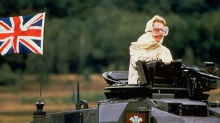 Prime Minister Margaret Thatcher on a Challenger tank in 1986