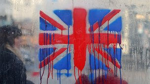 Union Flag painted on a bus shelter