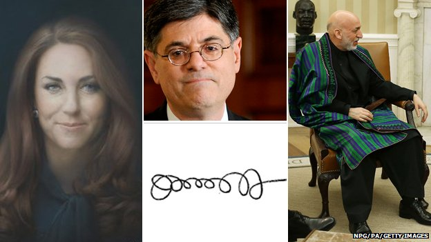 The Duchess' portrait, Jack Lew and his signature, Hamid Karzi and his cape