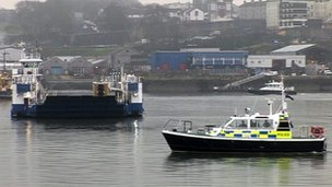 Police boat on River Tamar during Jordan Cobb search