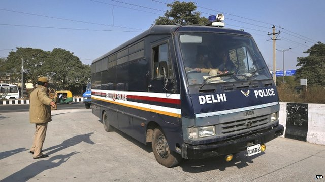 Police van believed to be carrying the accused