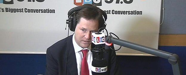 Nick Clegg on LBC 97.3FM radio phone in