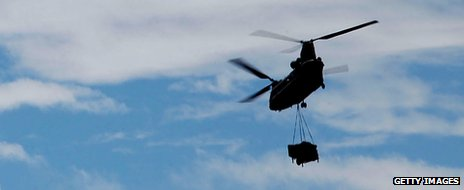 Chinook carrying supplies
