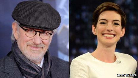 Steven Spielberg and Anne Hathaway
