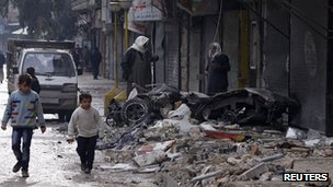 Shelling damage in al-Mashhad district of Aleppo. 9 Jan 2013