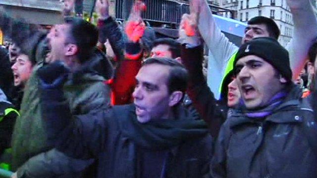 Kurdish protesters in Paris