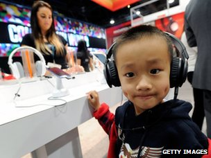 Boy wearing headphones