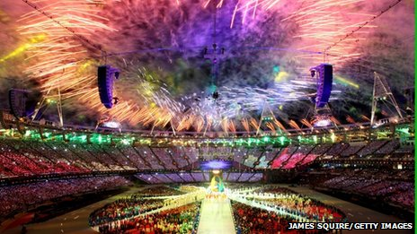 Fireworks exploding at London 2012 closing ceremony