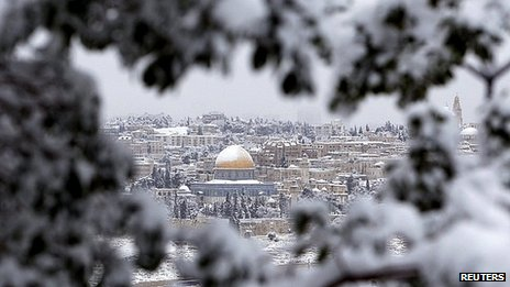 Jerusalem covered in snow. 10 Jan 2013