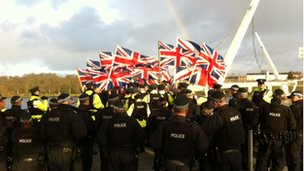 A loyalist flags protest at Derry's peace bridge
