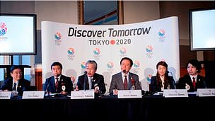 Japanese officials and athletes from the 2020 team