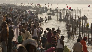 Pilgrims gather at the Ganges