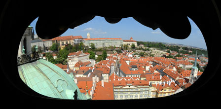 View from St Nicholas church over Prague