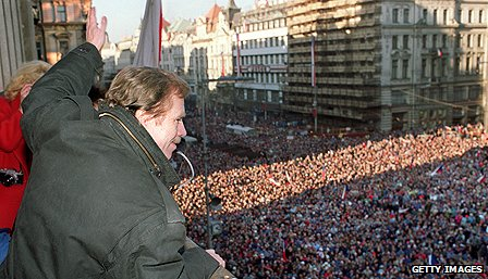 Vaclav Havel during the Velvet Revolution