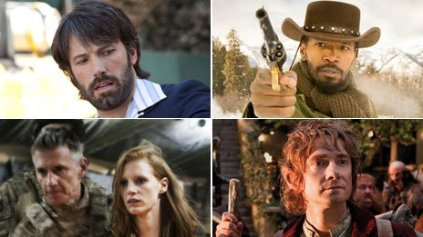 Clockwise from top left: Argo director Ben Affleck; Jamie Foxx in Django Unchained; Martin Freeman in The Hobbit: An Unexpected Journey; a scene from Zero Dark Thirty featuring Jessica Chastain
