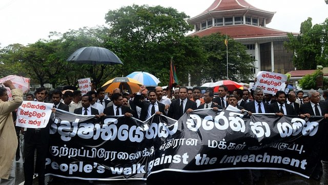 Sri Lanka's lawyers protest against government moves to impeach the country's chief justice