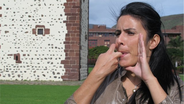 Woman whistling