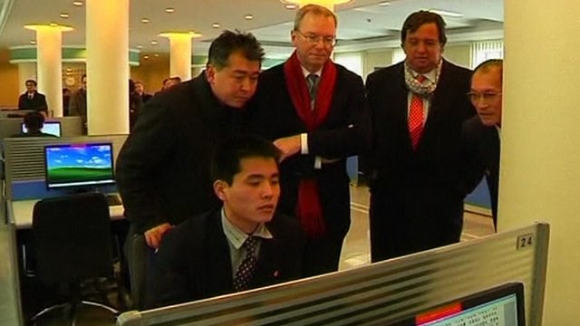 Google chairman Eric Schmidt visiting a university in Pyongyang
