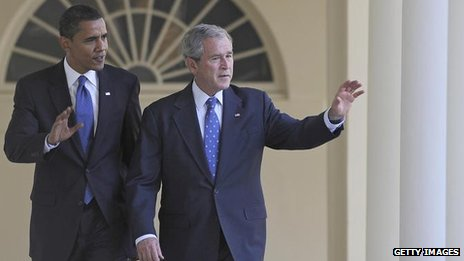 Barack Obama and George W Bush