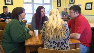 Council tax benefit claimants in a cafe