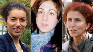 Composite image of PKK activists Fidan Dogan (l), Leyla Saylemez (c), and Sakine Cansiz (r)
