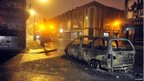 Burnt out car in east Belfast