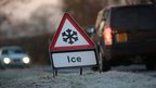 Ice sign by the side of the road