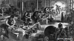 Engraving of a steel manufacturing workshop during the late 18th century