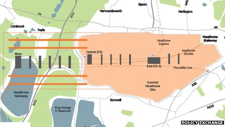 Map showing the Policy Exchange's proposal for a westward expansion of Heathrow