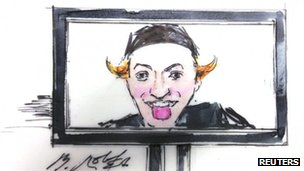 A courtroom sketch of a photograph of suspect James Holmes (10 January 2013)