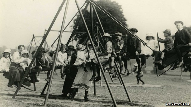 Children on a swing at Wicksteed Park in the 1920s