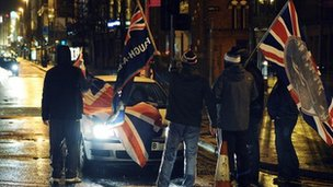Loyalist protest in Great Victoria Street area of Belfast